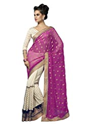 Suvastram Women Georgette And Chiffon Half And Half Embroidered Multi-Coloured Saree