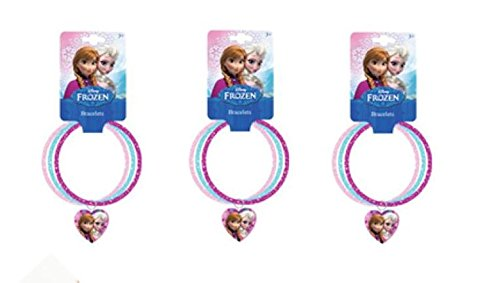 Disney Frozen 3 ring on glitter bangles with heart charm, 1 set