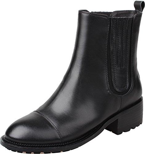 ELEHOT Donna Eleash tacco a blocco 4CM Leather Stivali, nero, 35.5