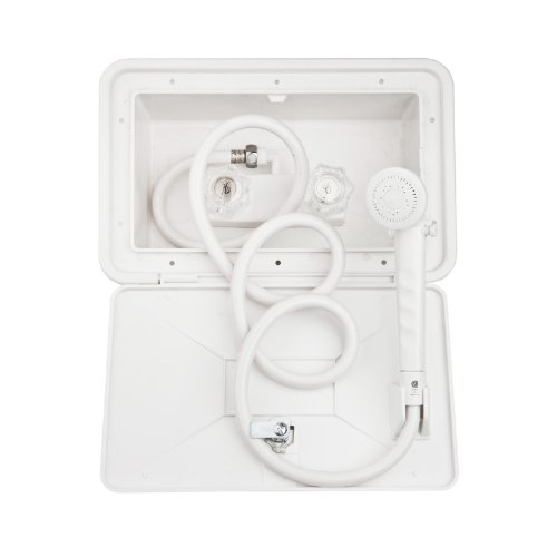 DF-SA170-WT - White RV Exterior Shower Box Kit - Includes Shower Faucet, Shower Hose, Shower Wand