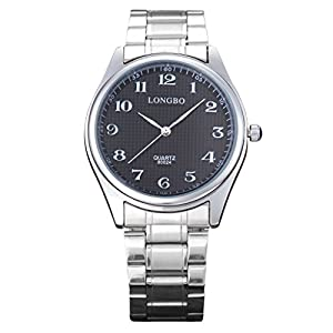 LONGBO Mens Stainless Steel Band Strap Business Arabic Numeral Analog Quartz Watches Casual Couple Dress WristWatch