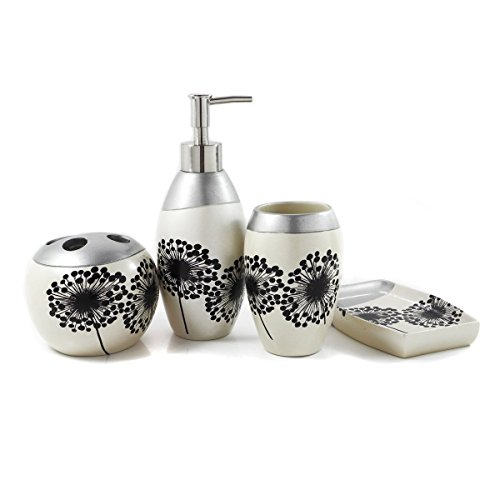 Dream Bath Dandelion Decal Bath Ensemble 4 Piece Bathroom Accessories Set Luxury Bath Accessories Bath Set Lotion Dispenser/Toothbrush holder/Tumbler/Soap dish