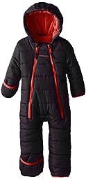 Weatherproof Baby Boys\' Pongee Puffer with Double Zipper Closure Pram, Black, 24 Months
