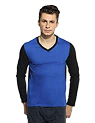 Dual Colour V-Neck Full Sleeve Royal Blue & BLack T-shirt