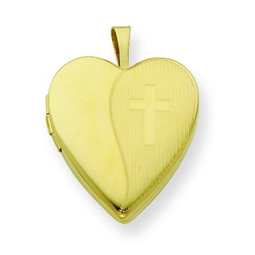 Gold Plated Sterling Silver 20mm Textured Cross Locket.