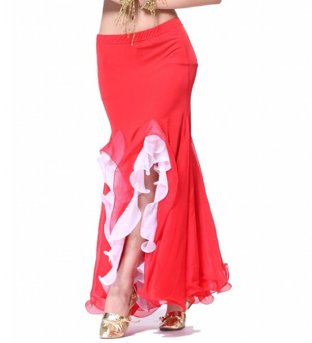 Feimei Women's Belly Dance Milk Silk Curling Skirt