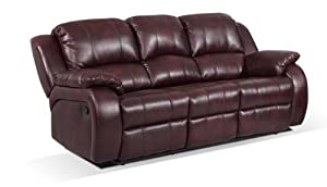 Capella Bonded and Faux Leather Alpha 3 Seat Recliner Sofa with 2 Manual Recliner Actions, Dark Brown from Capella