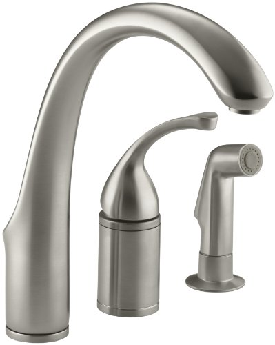 KOHLER K-10430-BN Forte Single Control Remote Valve Kitchen Sink Faucet with Sidespray and Lever Handle, Vibrant Brushed Nickel