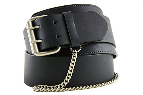 Cobalt Ladies Leather & Metal Chain Wide Hip Belt Black Size S