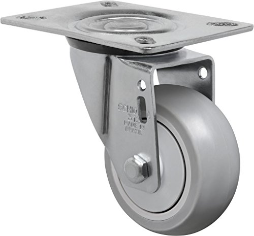 "Schioppa L12 Series, Gl 312 Spe, 3 X 1-1/4"" Swivel Caster, Non-Marking Extra Soft Thermoplastic Rubber Precision Ball Bearing Wheel, 125 Lbs, Plate 3-1/8 X 4-1/8"" (Bolt Holes 3-1/8 X 2-1/4"") front-254736"