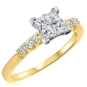 3/4 CT. T.W. Diamond Ladies Engagement Ring 10K Yellow Gold- Size 10.5
