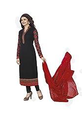 Black Coloured Georgette Designer Embroidered Salwar Suit