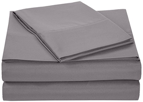 Great Features Of AmazonBasics Microfiber Sheet Set - Twin Extra-Long, Dark Grey