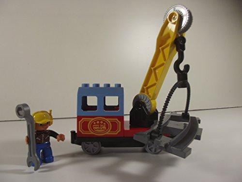 LEGO® DUPLO® exclusiv Gleisreparaturzug mit drehbarem Kran u. Bauarbeiter für die LEGO® DUPLO Eisenbahn in LEGO® Polybag