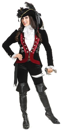 Sultry Pirate Jacket - Black 12-14 (Female Pirate Jacket)
