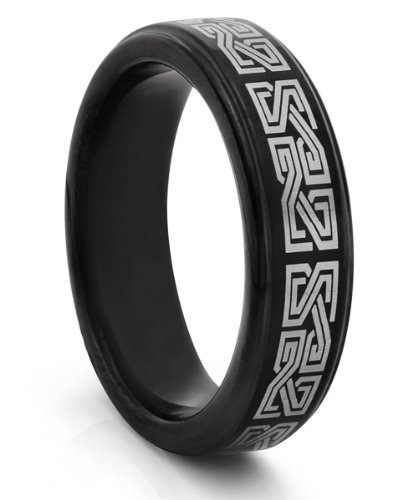 6MM Tungsten Carbide Black Celtic Greek Wedding Band Ring (Available Sizes 4-11 Including Half Sizes)