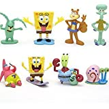 Spongebob SquarePants 8 Piece Play Set with 8 SpongeBob Figures Featuring Squidward, Sandy Cheeks, Patrick Star, Mr. Krabs, Plankton, and Gary
