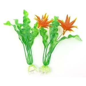 Fish Tank Ornamnet Green Orange Water Plastic Plant 8.1Height 2 Pcs