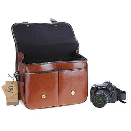 koolertron 1DSLRと3レンズは収容可能 PUレザーカメラバッグ大 防水ヴィンテージ ファッション ショルダーメッセンジャーバッグ  Canon Sony Nikon Olympus等適用