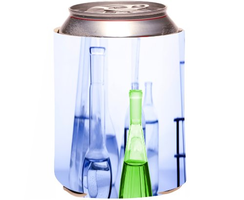 Rikki Knight Beer Can Soda Drinks Cooler Koozie, Green And Blue Magic Fluids In Tubes Design front-641698