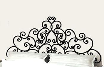 Full Bed Frame Post Scroll Style Headboard Removable Bedroom Wall Decor Decal Sticker