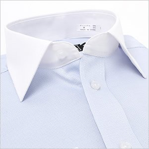 長袖ワイドカラー ライトブルー ワイシャツ ワイドカラー 長袖ワイシャツ メンズ 長袖 Yシャツ