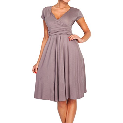 Sue&Joe Women's Fit and Flare Dress V-neck Ruched Flowy Pleated Cap Sleeve Dress, Coffee, TagsizeXXL=USsize12-1