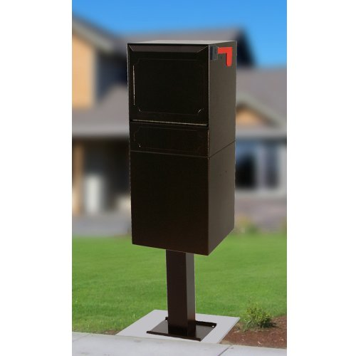 dVault Full Service Locking Mailbox, Black Post/Column Mount Delivery Vault, Box and Center Mount Surface Post Kit, DVU0050PA-1-KIT, Black