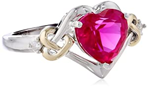 XPY Sterling Silver and 14k Yellow Gold Diamond and Heart-Shaped Created Ruby Ring (0.03 cttw, I-J Color, I3 Clarity), Size 5