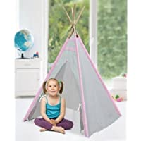 American Kids Wk639074 Tee Pee Indoor Play Tent, Pink/Taupe, 100 Percent Cotton Canvas Fabric, For Kids 3 To 8...