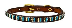 Just Fur Fun Dog Collar, Modern Classic, 18-Inch, Brown Leather