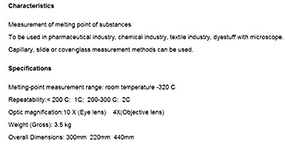 GOWE Melting point Apparatus with Microscope melting-point measurement range : room temperature -320c