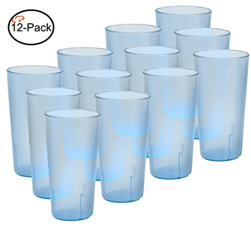 Tiger Chef 16-Ounce, 12-Pack Blue Stackable Restaurant Beverage Cup Plastic Tumbler Set, BPA-Free
