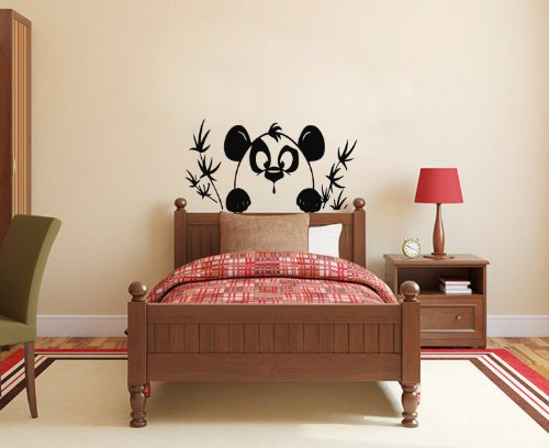 Housewares Vinyl Decal Funny Panda Bear And Bamboo Home Wall Art Decor Removable Stylish Sticker Mural Unique Design For Bed Nursery Room front-143745