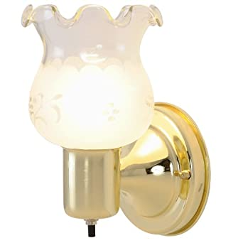 AF Lighting 671543 4-1/2-Inch Diameter, 8-Inch-Height Wall Light Fixture, Polished Brass Finish, projects 4-3/4-Inch