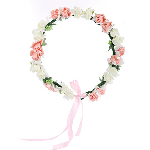 Cfrmall Flower Wreath Headband Floral Crown Garland Halo for Wedding Festivals (White+Peachy Pink)