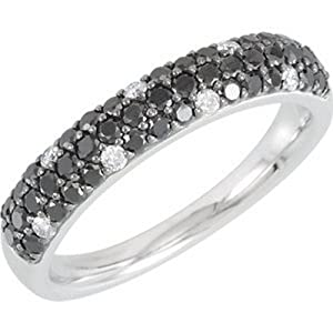 IceCarats Designer Jewelry 14K White Gold Size 7 Black And White Diamond Anniversary Band