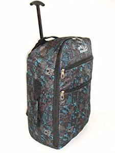 "22"" 40L Black & Blue Print 2 Wheeled Backpack Super Lightweight Hand Luggage Holdall Onboard Cabin Approved Boarding Bag On Wheels from Borderline"