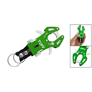 Como Green Aluminum Carabiner Hook Bag Holder w Double Keyrings