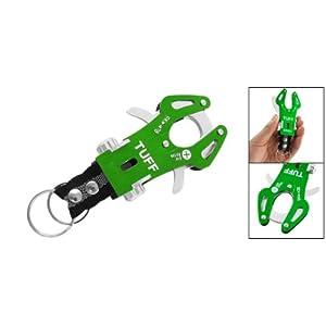 Como Green Aluminum Carabiner Hook Bag Holder w Double Keyrings