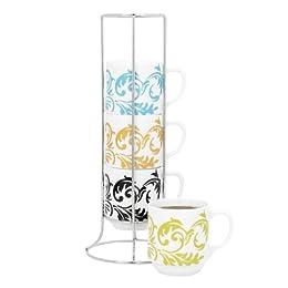 Product Image Damask Stacking Mug Set of 4
