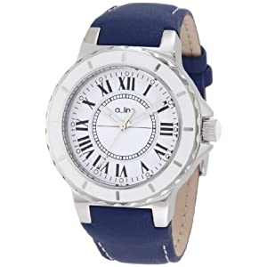 a_line Women's 20012 Marina White Dial Blue Leather Watch