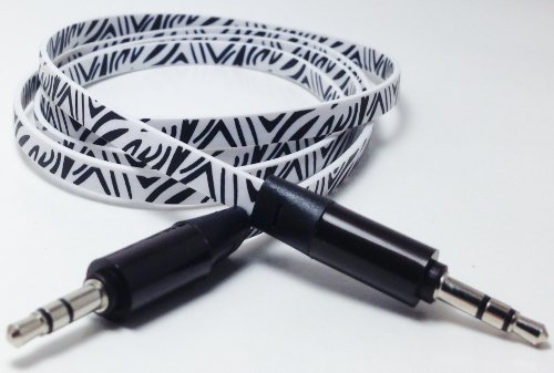Cablesfrless (Tm) 3Ft 3.5Mm Patterned Tangle Free Auxiliary (Aux) Cable (Zebra White)