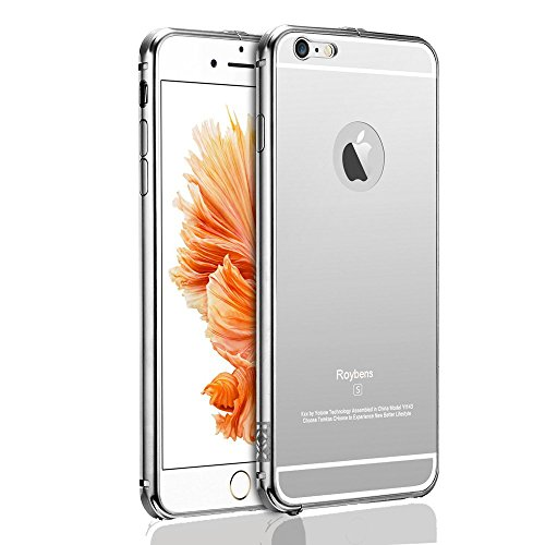 For iPhone 6 Case, Roybens Luxury Air Aluminum Metal Bumper Detachable + Mirror Hard Back Case ,2 in 1 cover ,Ultra Thin Frame with Stylish Designs for Apple iPhone 6 (4.7) - Retail Packaging (Silver) (Iphone 6 Metal Bumper Case compare prices)