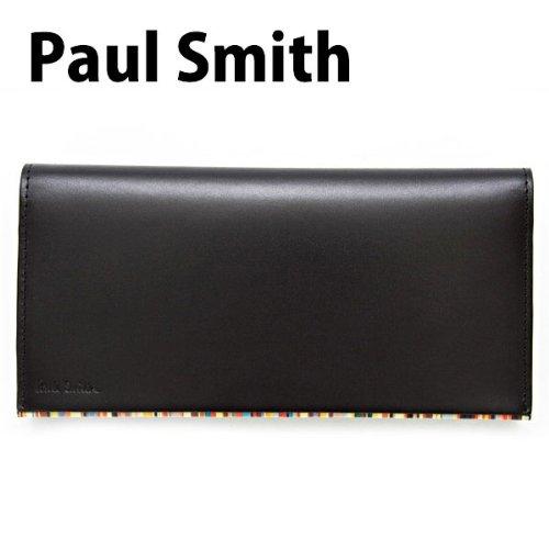 ポールスミス Paul Smith 財布 長財布 メンズ レザー 本革 ブラック(黒)×マルチストライプ PSU056-990 [ウェア&シューズ]