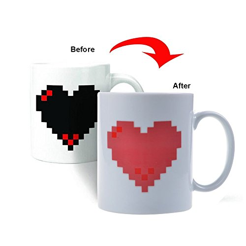 Cynthia Red Heart Color Changing Heat Cup Sensitive Porcelain Tea Coffee Mug