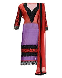 Vividha Women's Georgette Dress Material (1561, Red)