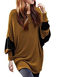 Allegra K Women Color Block Batwing Loose Tunic Top