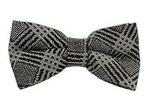 Wool Black and Gray Granular Plaid Self-Tie Bow Tie