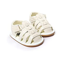 LIVEBOX Infant Baby Boys and Girls Moccasins Premium Soft Rubber Sole Anti-Slip Summer Prewalker Toddler Sandals(M: 6~12 months,White)